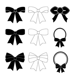 Collection of black and white bows vector image