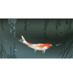 Koi carp in pond vector image