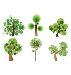 Multicolor tree set vector image