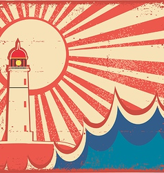 Seascape horizon with lighthouse on old vintage vector image