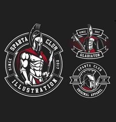 set of gladiators vector image