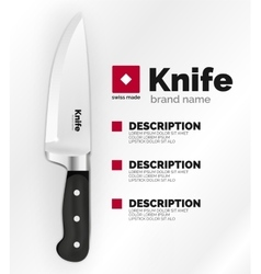 Swiss made knife ad template vector