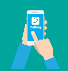 hands use call application on phone with isolated vector image vector image