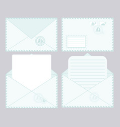 set of closed and open envelopes vector image