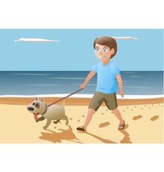 boy and dog walking on vector image