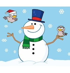 Friendly Snowman With A Cute Birds vector image vector image