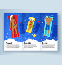leaflet design with young family on vacation vector image vector image