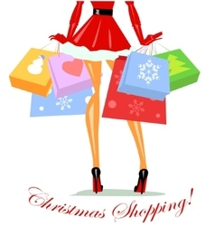 Mrs Claus carrying shopping bags vector image