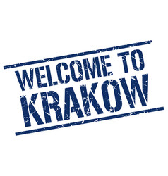 welcome to krakow stamp vector image vector image