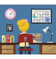 workplace in room Girl at work Flat style vector image vector image