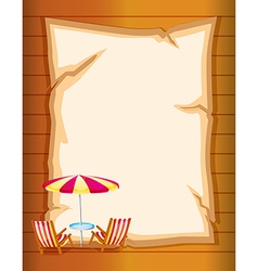 A stationery with beach umbrella and chairs vector image vector image