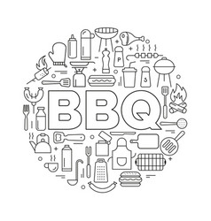 barbecue icons in circle icon line style poster vector image vector image