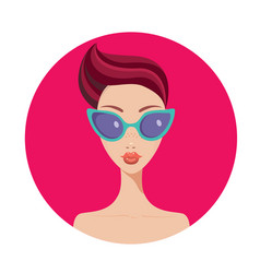beautiful young woman with short hair style vector image