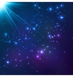 Magic blue cosmic light background vector image