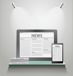 News Tablet PC on shelves vector image vector image