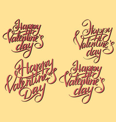 set happy valentines day typographic lettering vector image vector image