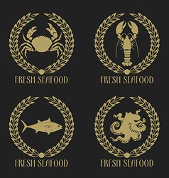 Set of the fresh seafood labels vector image vector image