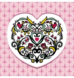 Valentines day card with bird fllower heart vector image vector image