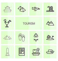 14 tourism icons vector
