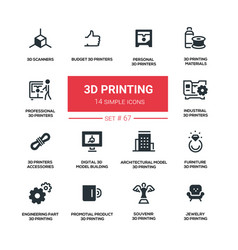 3d printing - line design silhouette icons set vector image