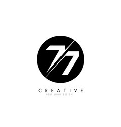 77 7 number logo design with a creative cut vector