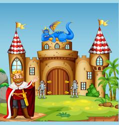 a drigon king at castle vector image