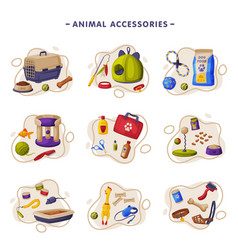 animal accessories set pet shop products food vector image