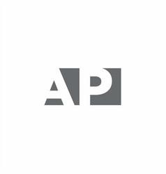Ap logo monogram with negative space style design vector
