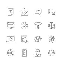 Approved icons set checked compliance inspection vector