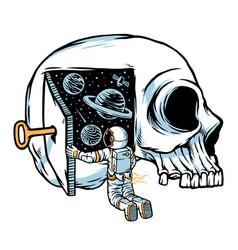 Astronauts think opening door vector