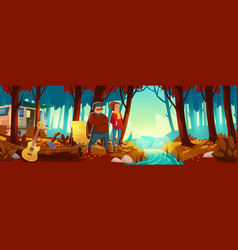 autumn forest with brook camp and people vector image