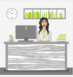 Bank office manager woman vector