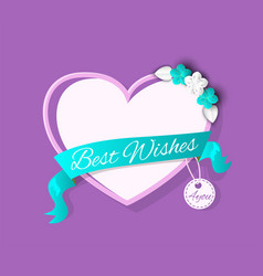 best wish banner heart shape wedding greeting box vector image