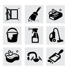 Black cleaning icons set on gray vector