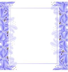 Blue purple agapanthus banner card border vector