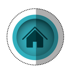Blue round symbol house with roof and door icon vector