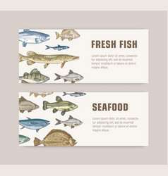 bundle web banner templates with fish living in vector image