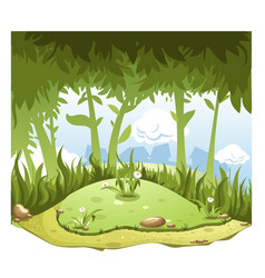 cartoon nature landscape with hill in center and vector image