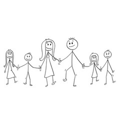cartoon of big family man and woman and two boys vector image