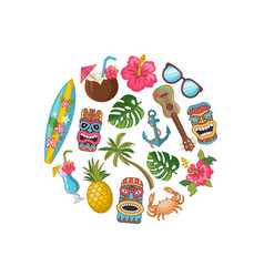 Cartoon summer travel elements in circle vector