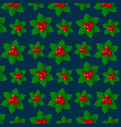 christmas background holly ilex branch with berry vector image