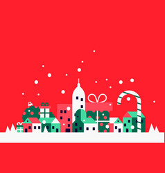 Christmas city concept with festive holiday houses vector