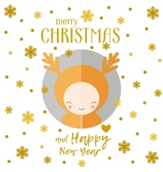 Christmas greeting card reindeer vector