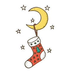 Christmas stocking on the moon vector