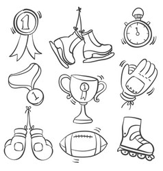 Collection of equipment sport doodles vector