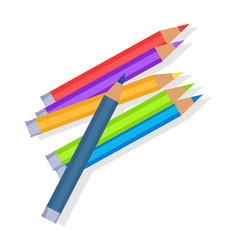 Colorful pencils mixed in pile vector
