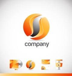 Corporate orange sphere 3d logo icon design vector image