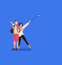 couple taking selfie photo on smartphone camera vector image
