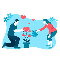 couple watering love plant vector image