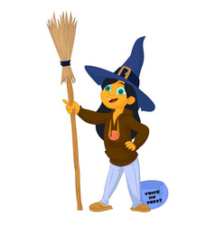 cute cartoon of a little modern witch vector image